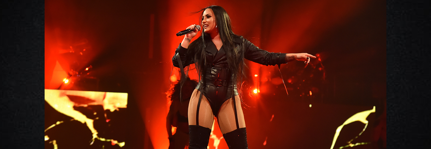Demi Lovato performs onstage at 'Tell Me You Love Me' World Tour Opener at Viejas Arena at Aztec Bowl San Diego State University on February 26, 2018 in San Diego, California. (Photo by Kevin Mazur/Getty Images for Philymack )