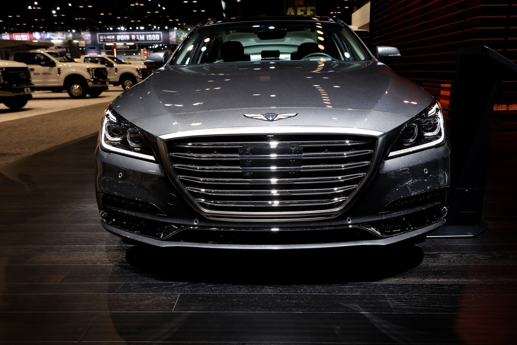 2018 Genesis G80 is on display at the 110th Annual Chicago Auto Show at McCormick Place in Chicago, Illinois on February 9, 2018.  (Raymond Boyd/Getty Images)