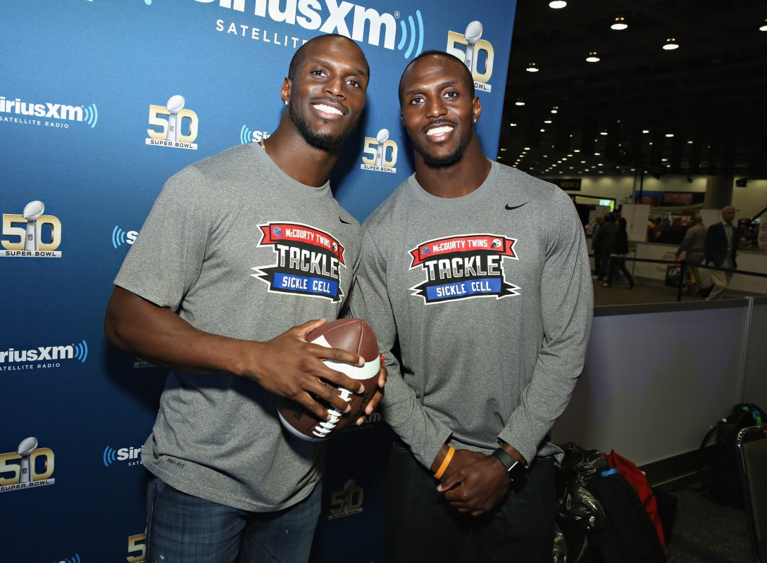 Jason McCourty of the Tennessee Titans and Devin McCourty of the New England Patriots visit the SiriusXM set at Super Bowl 50 Radio Row at the Moscone Center on February 4, 2016 in San Francisco, California.(Cindy Ord/Getty Images for SiriusXM)