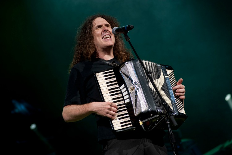 American musician and comedian Weird Al Yankovic plays an accordion as he performs onstage at the Star Plaza Theater, Merrillville, Indiana, July 9, 2010. (Paul Natkin/Getty Images)