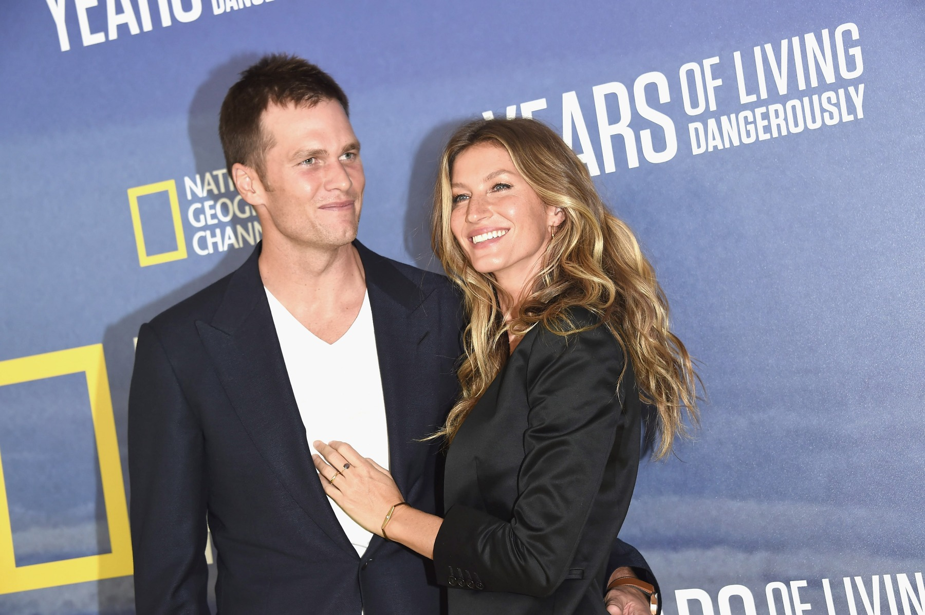 "NFL player Tom Brady and model Gisele Bundchen attend National Geographic's ""Years Of Living Dangerously"" Season 2 World Premiere  at American Museum of Natural History on September 21, 2016 in New York City.  (Photo by Gary Gershoff/WireImage)"
