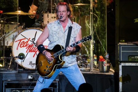 Ted Nugent performs in support of the Rockin America Again! Tour at Michigan Lottery Amphitheatre on August 25, 2017 in Sterling Heights, Michigan.  (Scott Legato/Getty Images)