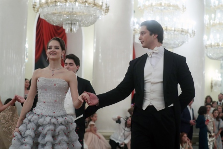 Eleonora Sevenard (L), the great granddaughter of Mathilde Kschessinska (1872-1971), a Russian Imperial Ballet prima ballerina, dances at the Tatler Debutantes Ball 2017 event held in the Pillar Hall of the House of the Unions in Moscow. (Vyacheslav ProkofyevTASS via Getty Images)