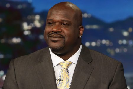 "Shaquille O'Neal hosting ""Jimmy Kimmel Live"" as a guest host. (Randy Holmes via Getty Images) SHAQUILLE O'NEAL"