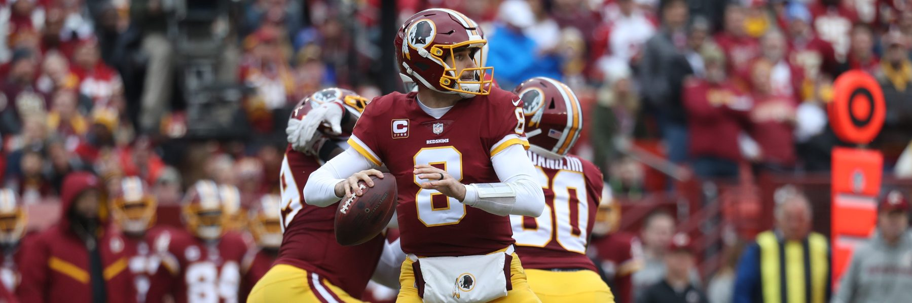 Ex-Redskins quarterback Kirk Cousins  looks to pass in the second quarter against the Arizona Cardinals at FedEx Field on December 17, 2017. (Photo by Rob Carr/Getty Images)
