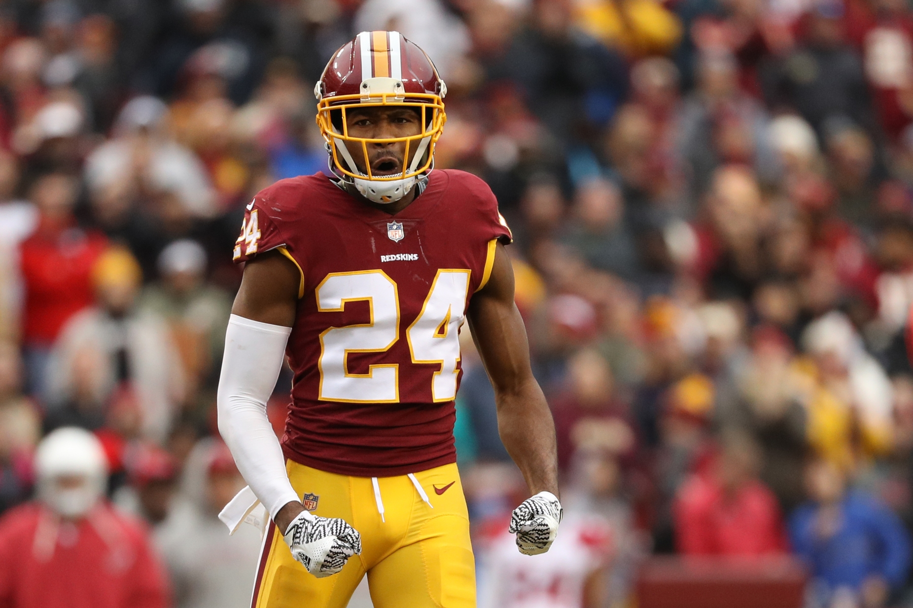 Cornerback Josh Norman #24 of the Washington Redskins reacts after a play in the fourth quarter against the Arizona Cardinals. (Photo by Patrick Smith/Getty Images)