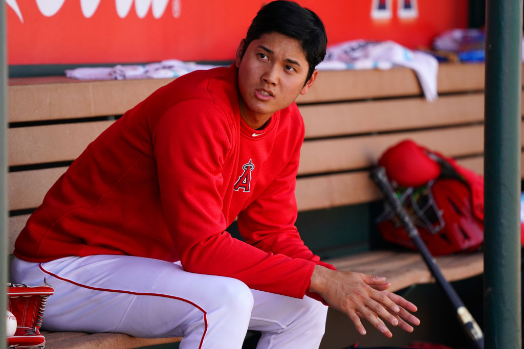 Shohei Ohtani of Los Angeles Angels is seen during the practice game against the Tijuana Toros of the Mexican League on March 9, 2018 in Tempe, Arizona. (Photo by Masterpress/Getty Images)