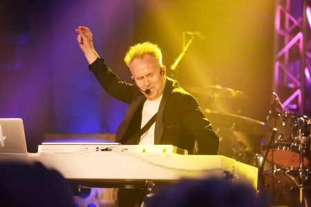"""Howard Jones performs during Gary Barlow's live showcase of """"Fly"""" an album of songs inspired by the new film """"Eddie the Eagle"""" at One Mayfair on March 18, 2016 in London, England.  (Dave J Hogan/Dave J Hogan/Getty Images)"""