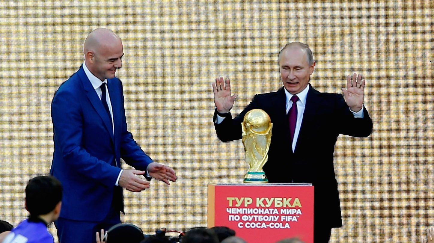 Russian President Vladimir Putin (R) and FIFA President Gianni Infantino (L) attend the official kickoff ceremony for the 2018 FIFA World Cup Trophy Tour, at Luzhniki Stadium in Moscow, Russia, on September 09, 2017. (Sefa Karacan/Anadolu Agency/Getty Images)
