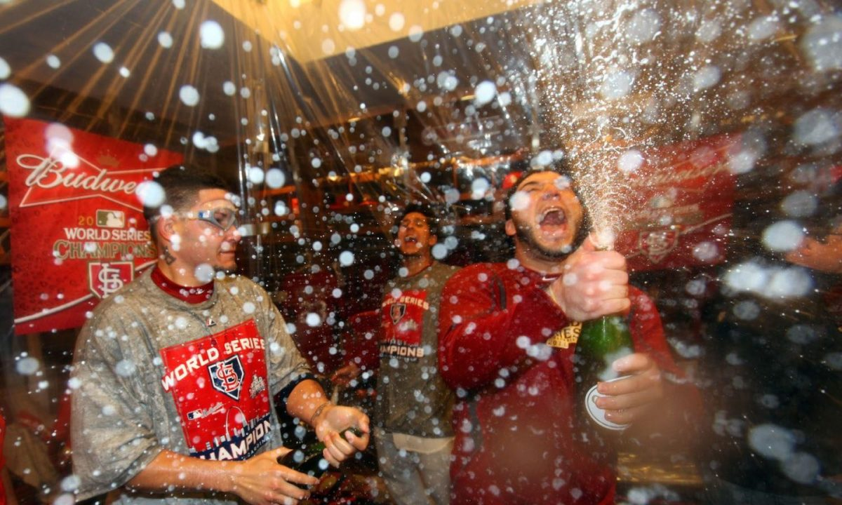The St. Louis Cardinals celebrate winning Game Seven of Major League Baseball's World Series at Busch Stadium on October 28, 2011. (Getty Images)