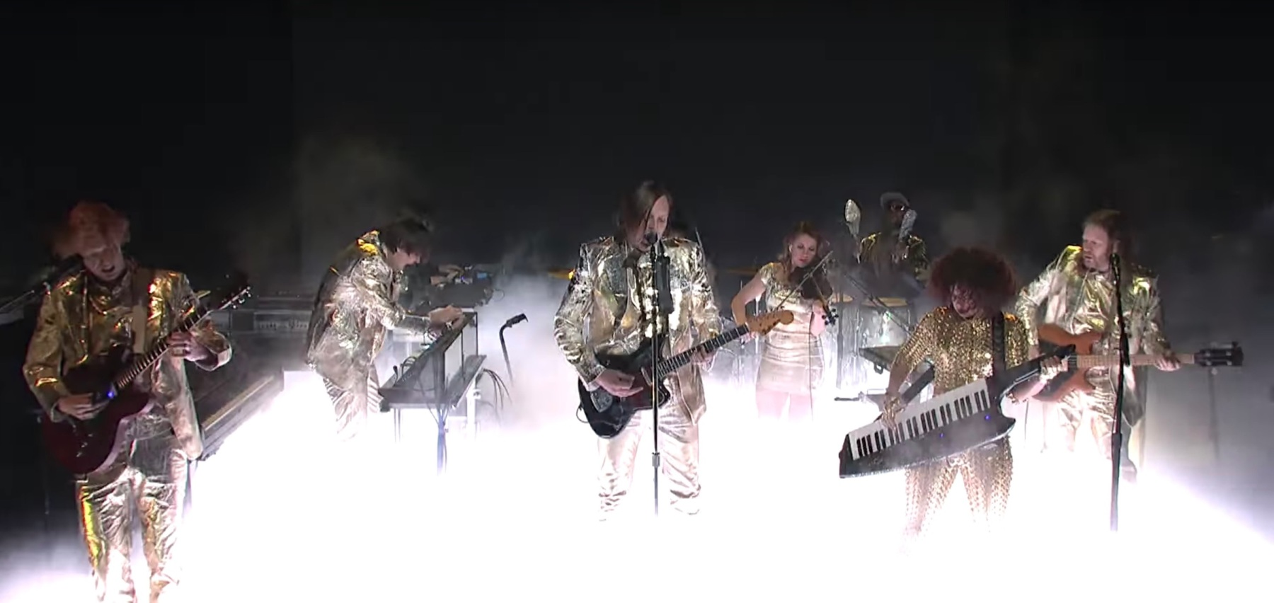 Arcade Fire, performing on last week's 'Saturday Night Live.' (NBC)