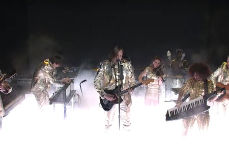 Arcade Fire, performing on last week's 'Saturday Night Live.' (NBC)