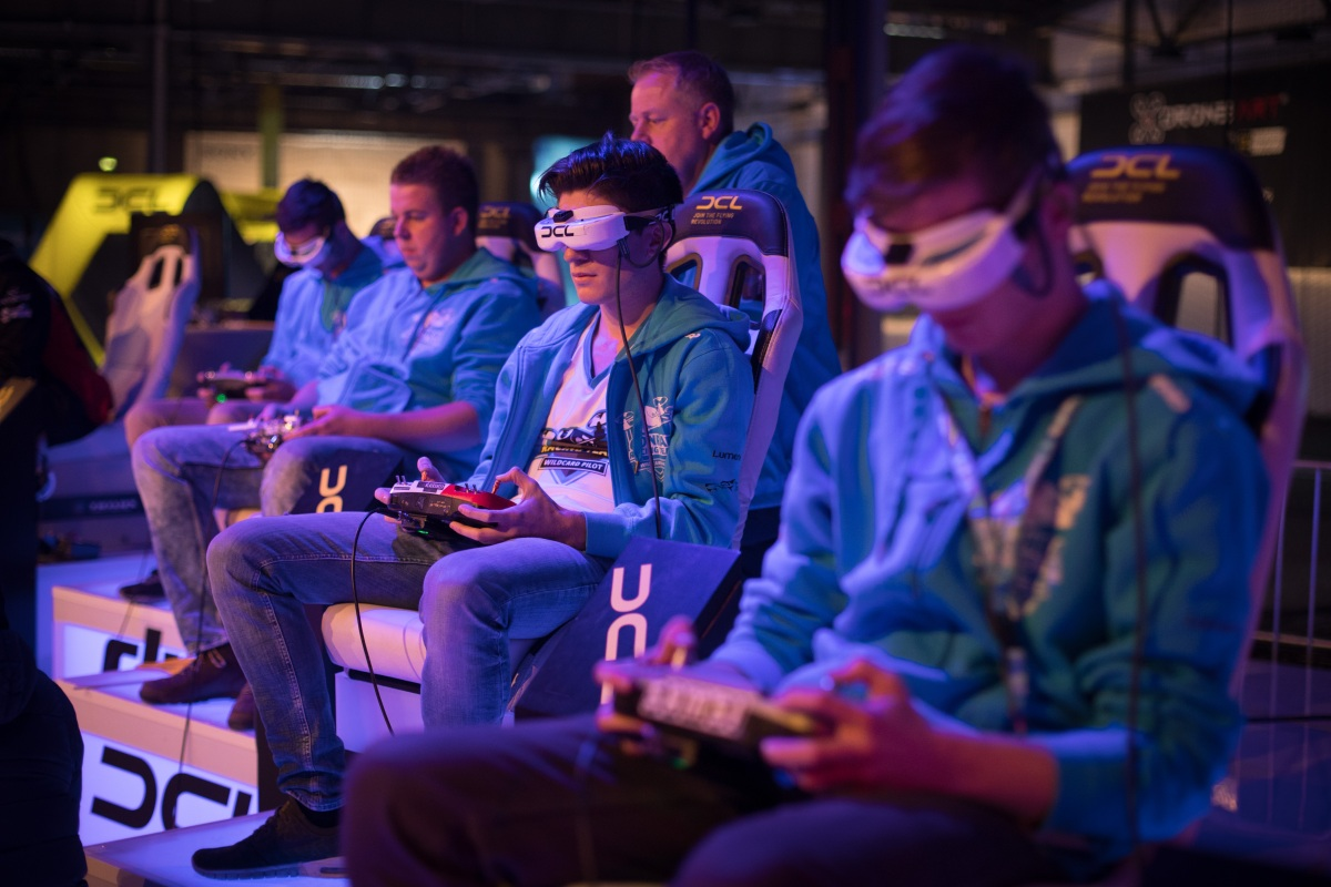 Pilots steer their drones with a RC controllers at Station Berlin during the DCL - Drone Champions League  Championship Finals in Berlin on December 02, 2017.  (Getty Images)