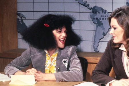 Gilda Radner as Roseanne Roseannadanna, Jane Curtin as herself  (NBC/NBCU Photo Bank via Getty Images)