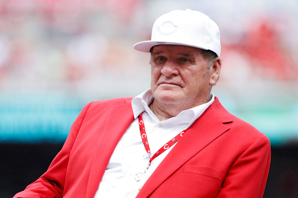 Former Cincinnati Reds great Pete Rose looks on following a dedication ceremony for his bronze statue outside Great American Ball Park prior to a game against the Los Angeles Dodgers on June 17, 2017 in Cincinnati, Ohio. (Photo by Joe Robbins/Getty Images)