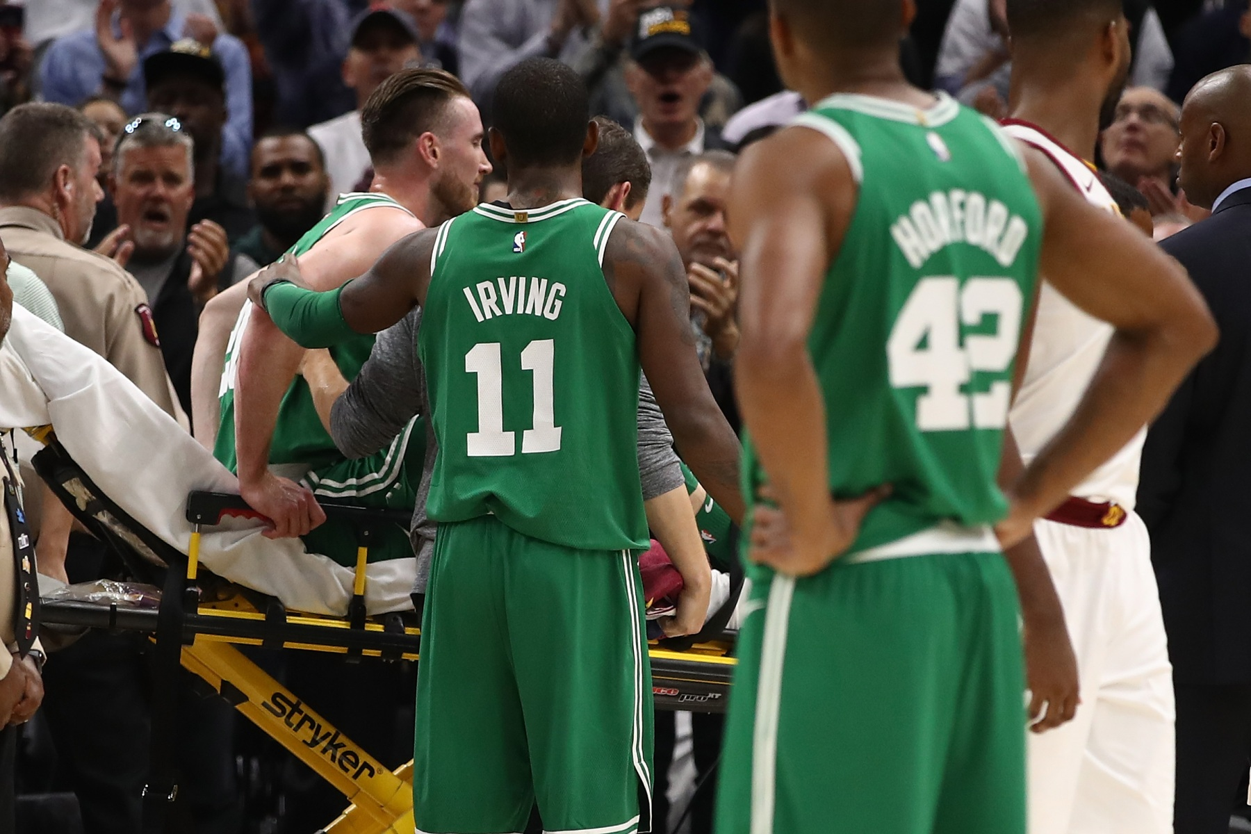 d28142ec5ac Kyrie Irving  11 of the Boston Celtics consoles Gordon Hayward  20 after  Hayward was