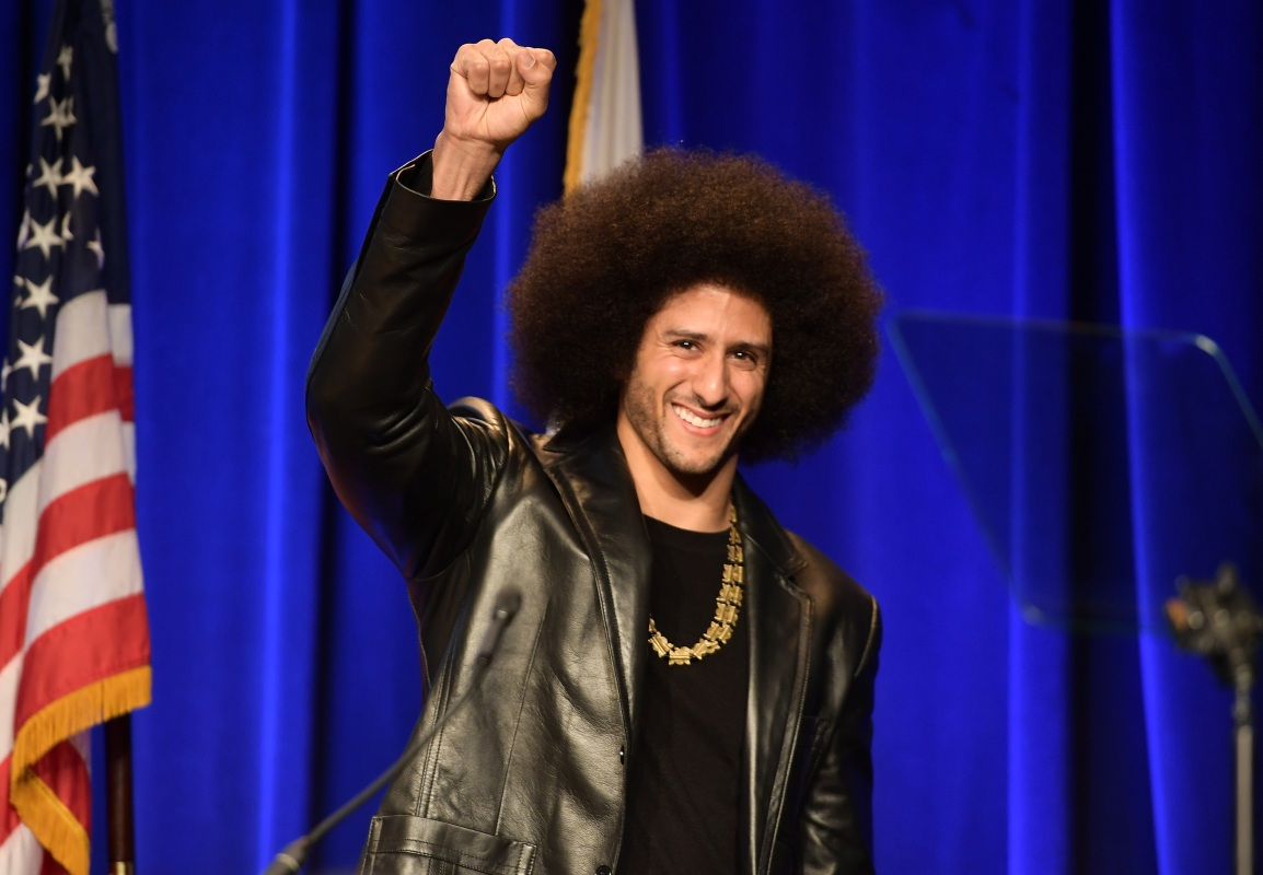 Honoree Colin Kaepernick speaks onstage at ACLU SoCal Hosts Annual Bill of Rights Dinner at the Beverly Wilshire Four Seasons Hotel on December 3, 2017 in Beverly Hills, California.  (Photo by Matt Winkelmeyer/Getty Images)