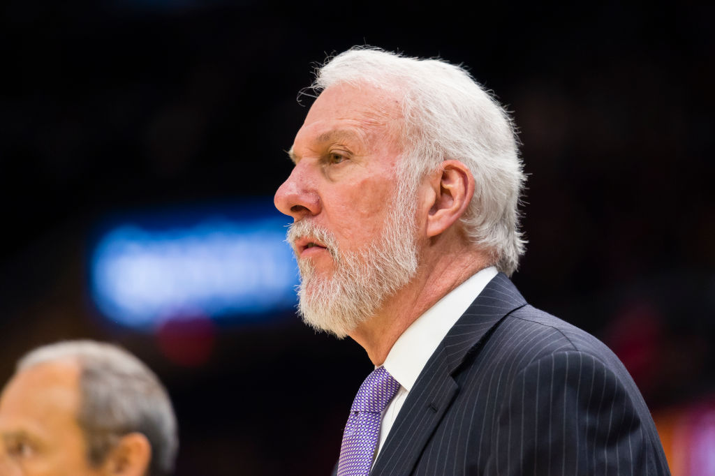 Gregg Popovich of the San Antonio Spurs watches his players during the first half against the Cleveland Cavaliers at Quicken Loans Arena on February 25, 2018 in Cleveland, Ohio. (Photo by Jason Miller/Getty Images) *** Local Caption *** Gregg Popovich