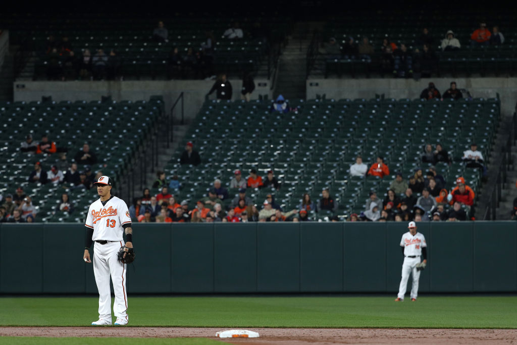 A general view of attendance as Manny Machado #13 of the Baltimore Orioles waits for a play against the Toronto Blue Jays during the third inning at Oriole Park at Camden Yards on April 11, 2018 in Baltimore, Maryland. (Photo by Patrick Smith/Getty Images)