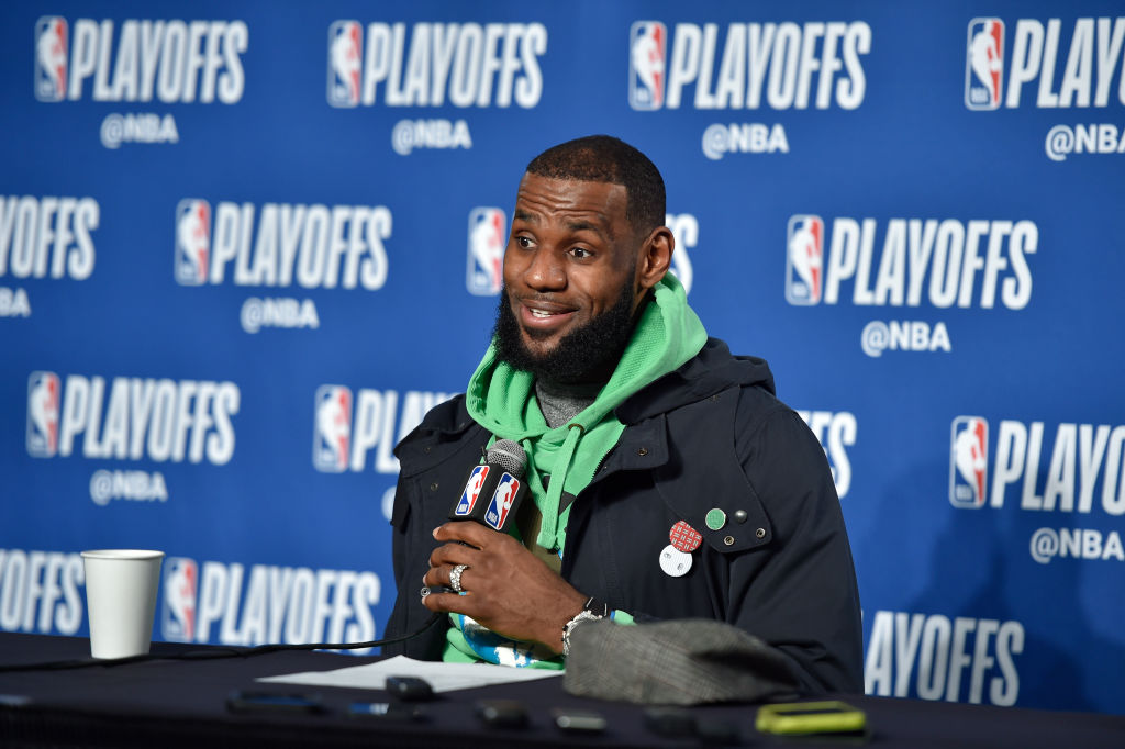 LeBron James #23 of the Cleveland Cavaliers speaks to media after game against the Indiana Pacers in Game One of Round One during the 2018 NBA Playoffs on April 15, 2018 at Quicken Loans Arena in Cleveland, Ohio. (Photo by David Liam Kyle/NBAE via Getty Images)
