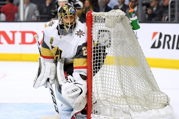 Marc-Andre Fleury #29 of the Vegas Golden Knights follows play around the net during the second period against the Los Angeles Kings in Game Four of the Western Conference First Round during the 2018 NHL Stanley Cup Playoffs at Staples Center on April 17, 2018 in Los Angeles, California.  (Harry How/Getty Images)