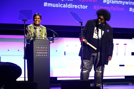 Tamron Hall and Questlove speak on stage during Tribeca Disruptive Innovation Awards - 2018 Tribeca Film Festival at Spring Studios on April 24, 2018 in New York City.  (Photo by Astrid Stawiarz/Getty Images for Tribeca Film Festival.)