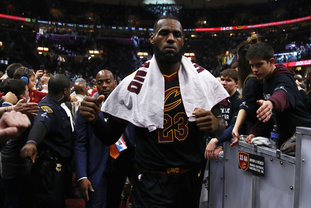 LeBron James #23 of the Cleveland Cavaliers leaves the court after a 105-101 win in Game Seven of the Eastern Conference Quarterfinals against the Indiana Pacers during the 2018 NBA Playoffs at Quicken Loans Arena. (Photo by Gregory Shamus/Getty Images)