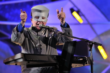 Gerald Casale of DEVO performs at Winter Olympics. (Photo credit should read OLIVIER MORIN/AFP/Getty Images)