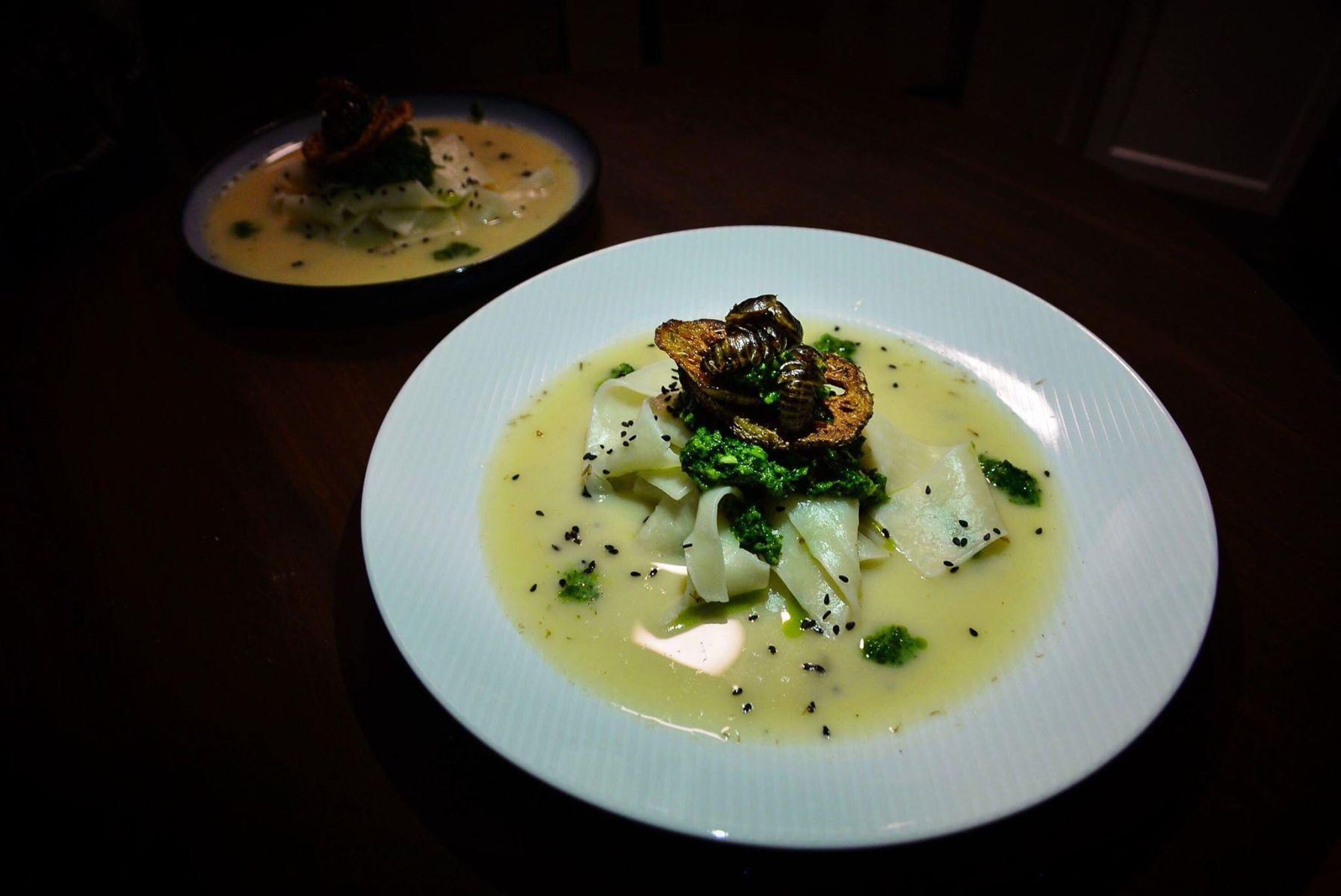 La Cucaracha Noodle Soup in Dubia-Pesto Broth, prepared in New York by Chef Don Peavy (Diana Crandall)