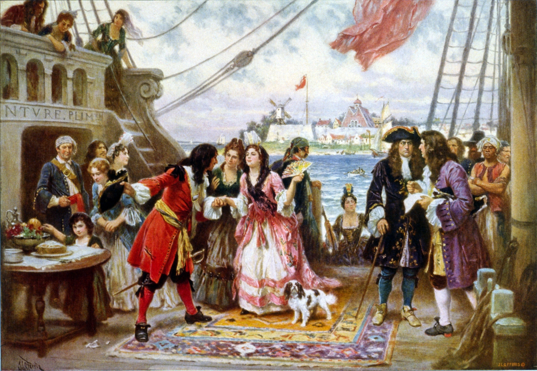 Captain Kidd in New York Harbor, in a c. 1920 painting by Jean Leon Gerome Ferris