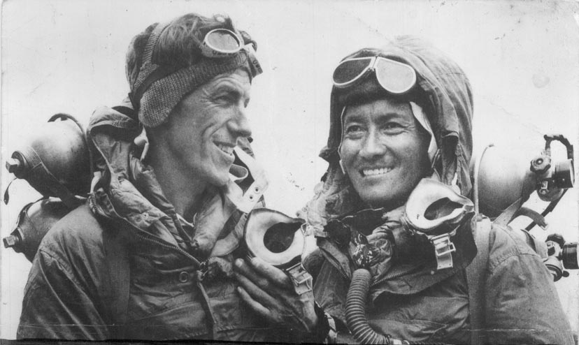 Edmund Hillary and Tenzing Norgay, the first people to climb Mount Everest. (Wikipedia)