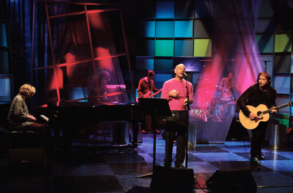 THE TONIGHT SHOW WITH JAY LENO -- Episode 1507 -- Pictured: Musical guest R.E.M. on December 10, 1998  (Photo by Margaret Norton/NBC/NBCU Photo Bank via Getty Images)