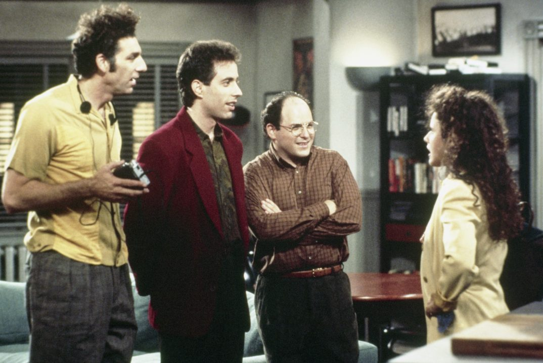 Pictured: (l-r) Michael Richards as Cosmo Kramer, Jerry Seinfeld as Jerry Seinfeld, Jason Alexander as George Costanza, Julia Louis-Dreyfus as Elaine Benes  (Photo by NBC/NBCU Photo Bank via Getty Images)