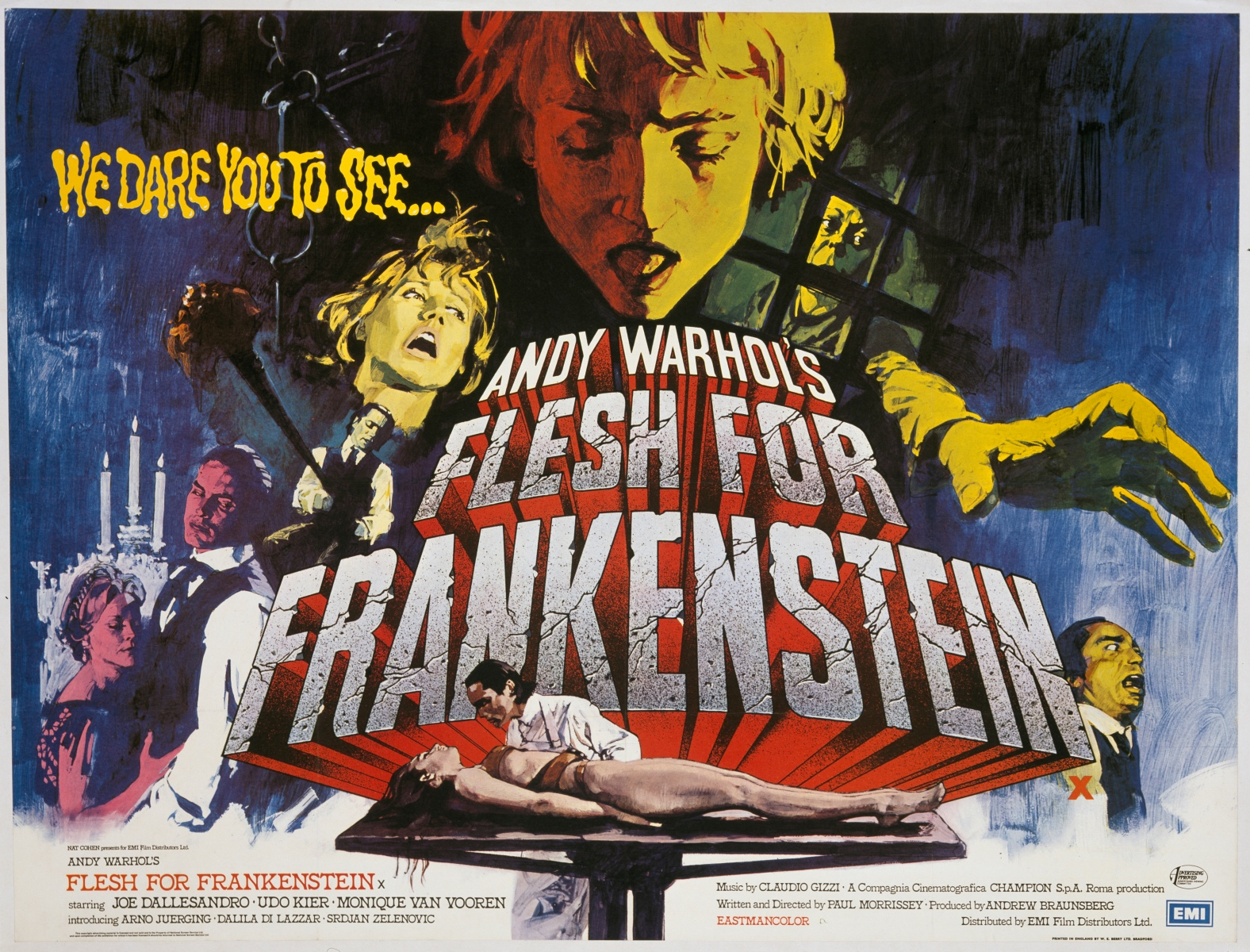 A poster for Paul Morrissey and Antonio Margheriti's 1973 horror film 'Flesh for Frankenstein'. (Movie Poster Image Art/Getty Images)