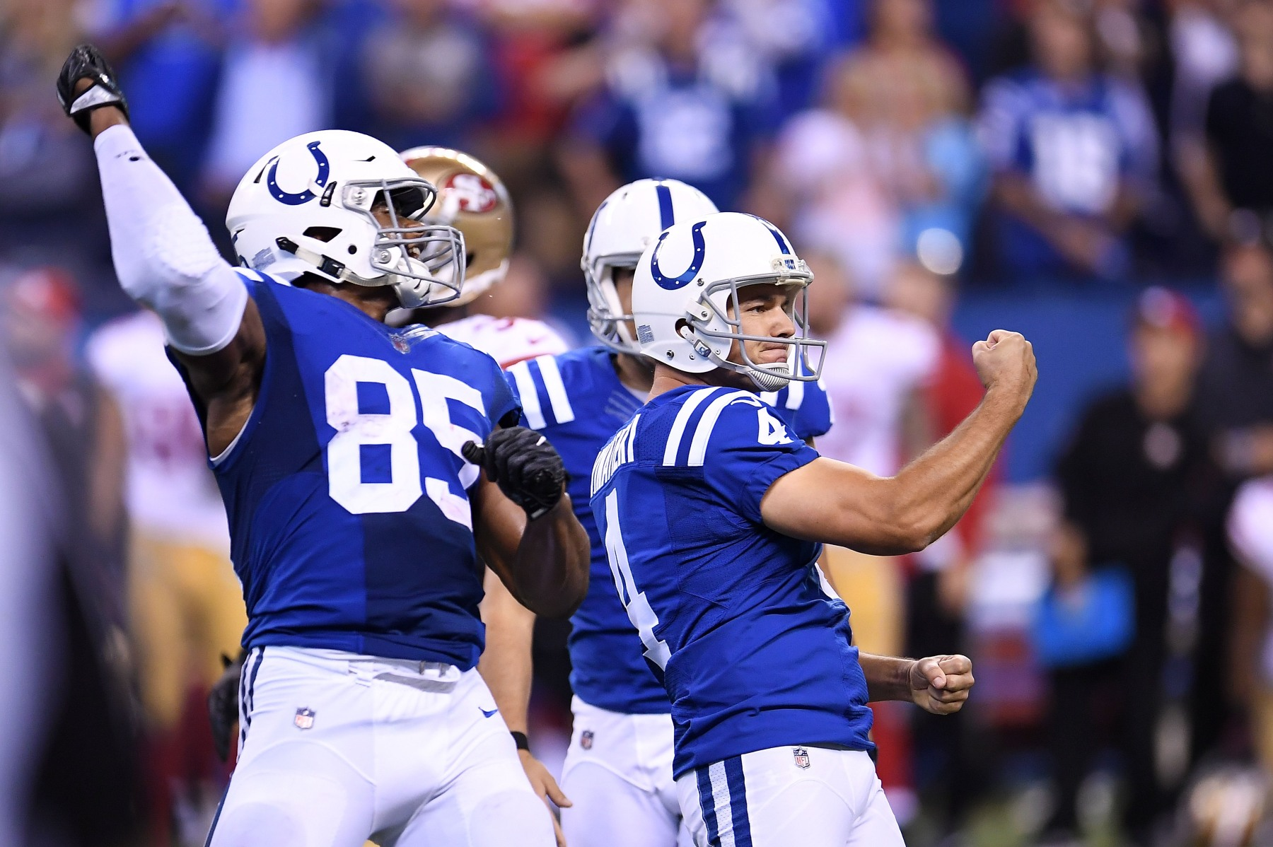 Adam Vinatieri #4 of the Indianapolis Colts celebrates after making a 51 yard field goal in overtime to defeat the San Francisco 49ers 26-23 at Lucas Oil Stadium on October 8, 2017 in Indianapolis, Indiana.  (Photo by Stacy Revere/Getty Images)