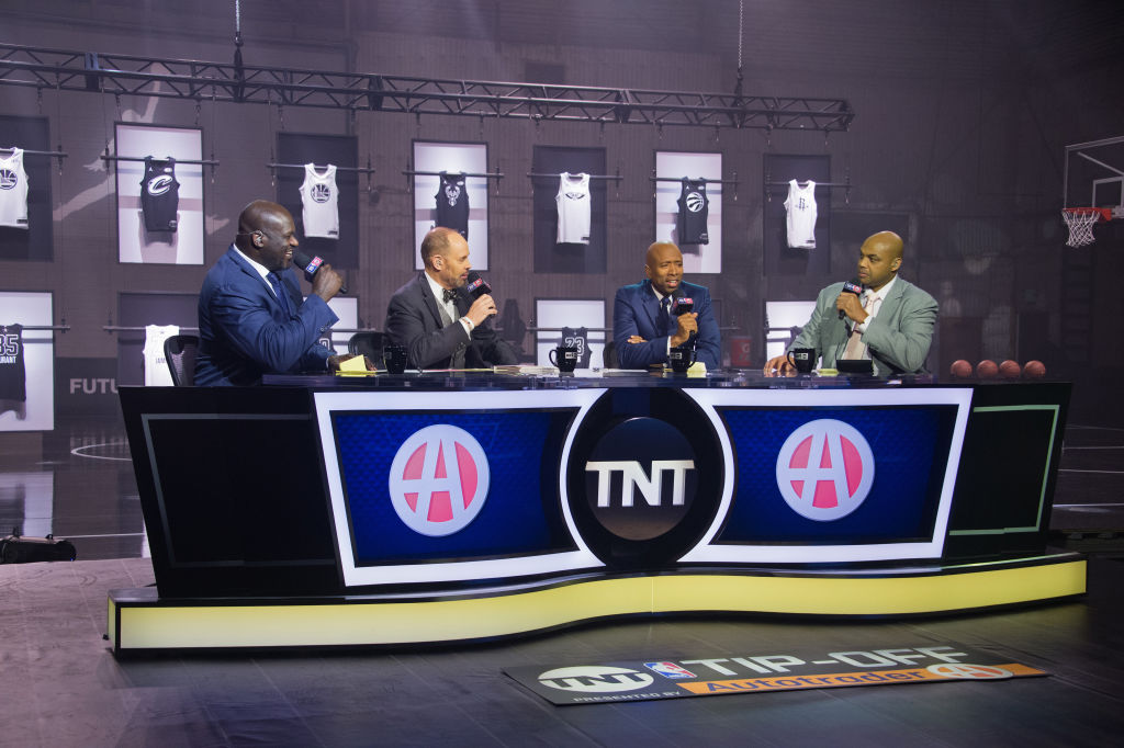 Shaquille O'Neal, Charles Barkley, Ernie Johnson and Kenny Smith speak during the 2018 Brand Jordan NBA All-Star Uniforms & All-Star Rosters Unveiling show on January 25, 2018 at CBS Studios in Studio City, California. (Photo by Adam Pantozzi/NBAE via Getty Images)