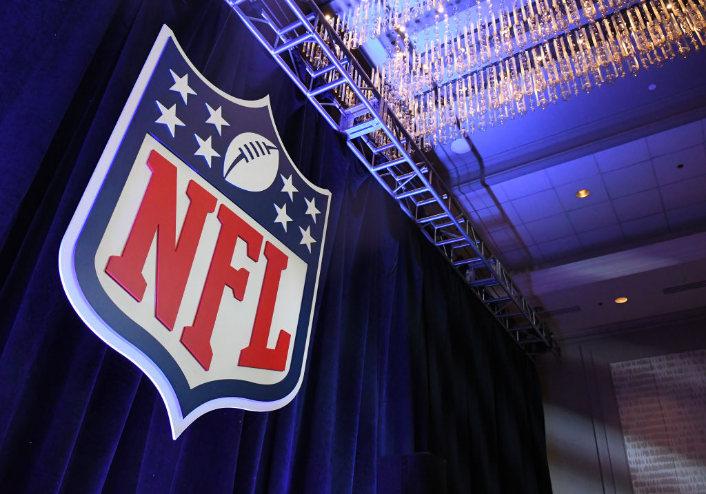 A NFL logo is on display at Commissioner Roger Goodell's Super Bowl LII press conference on January 31, 2018 at Hilton Minneapolis Grand Ballroom in Minneapolis, MN.(Photo by Nick Wosika/Icon Sportswire via Getty Images)