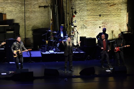 """Bruce Springsteen, Patti Smith, Michael Stipe perform during """"Horses: Patti Smith and Her Band"""" - 2018 Tribeca Film Festival at Beacon Theatre on April 23, 2018 in New York City.  (Theo Wargo/Getty Images for Tribeca Film Festival)"""