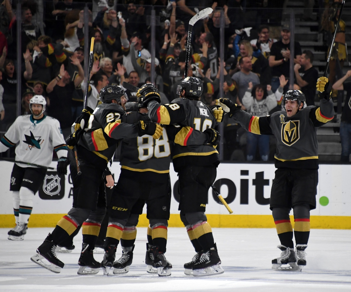 The Vegas Golden Knights celebrate a third-period goal by Nate Schmidt #88 in the third period of Game Two of the Western Conference Second Round during the 2018 NHL Stanley Cup Playoffs at T-Mobile Arena on April 28, 2018 in Las Vegas, Nevada.  (Photo by Ethan Miller/Getty Images)