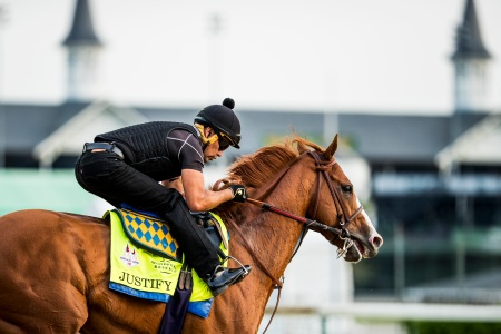Justify, trained by Bob Baffert, exercises in preparation for the Kentucky Derby at Churchill Downs on May 3, 2018 in Louisville, Kentucky. (Alex Evers/Eclipse Sportswire/Getty Images)