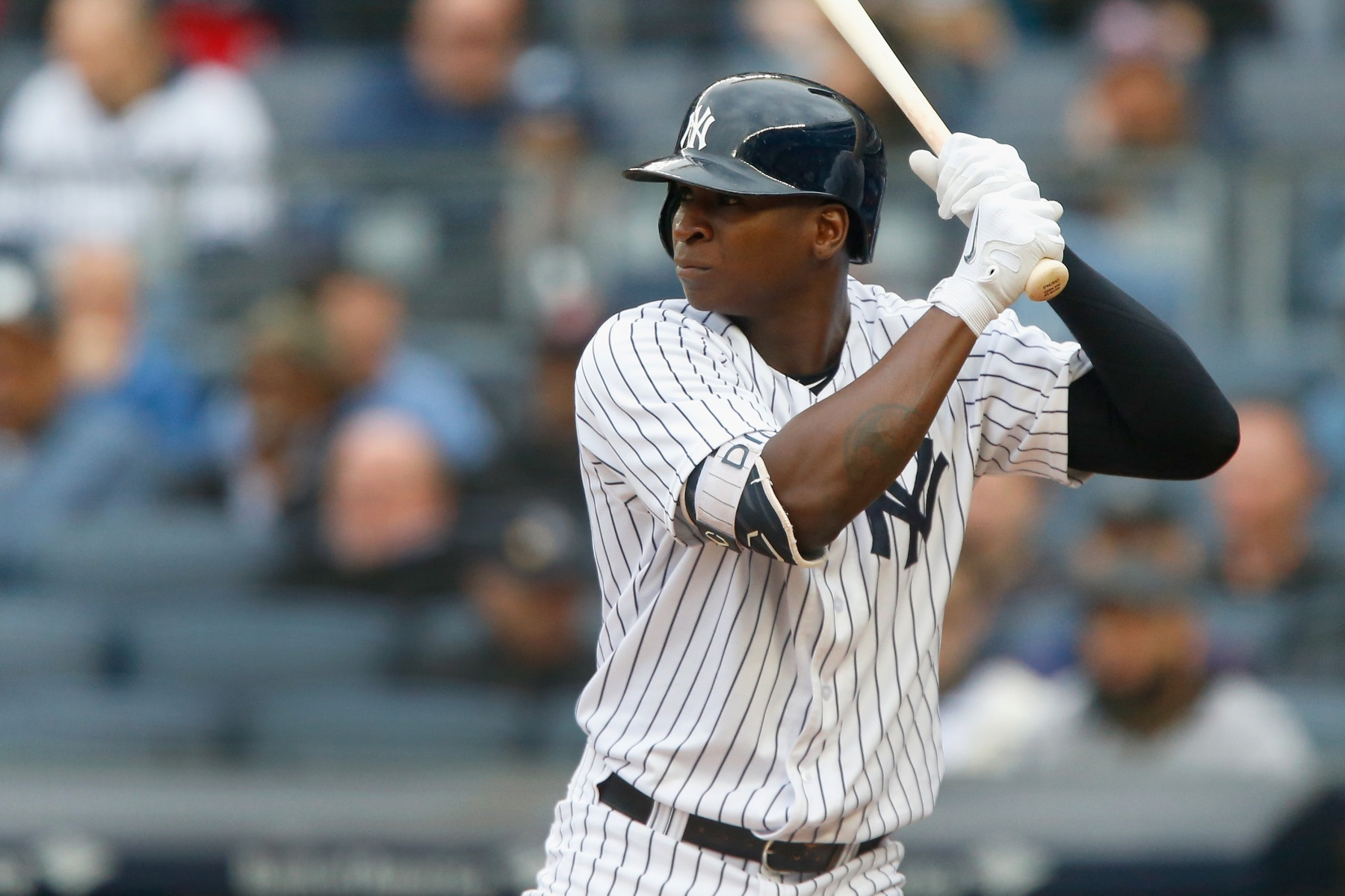 Didi Gregorius #18 of the New York Yankees in action against the Oakland Athletics at Yankee Stadium on May 12, 2018 in the Bronx borough of New York City. The Yankees defeated the Athletics 7-6 in 11 innings. (Photo by Jim McIsaac/Getty Images)
