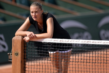 Kristina Mladenovic of France reacts during a training session ahead of the French Open at Roland Garros on May 24, 2018 in Paris, France.  (Aurelien Meunier/Getty Images)