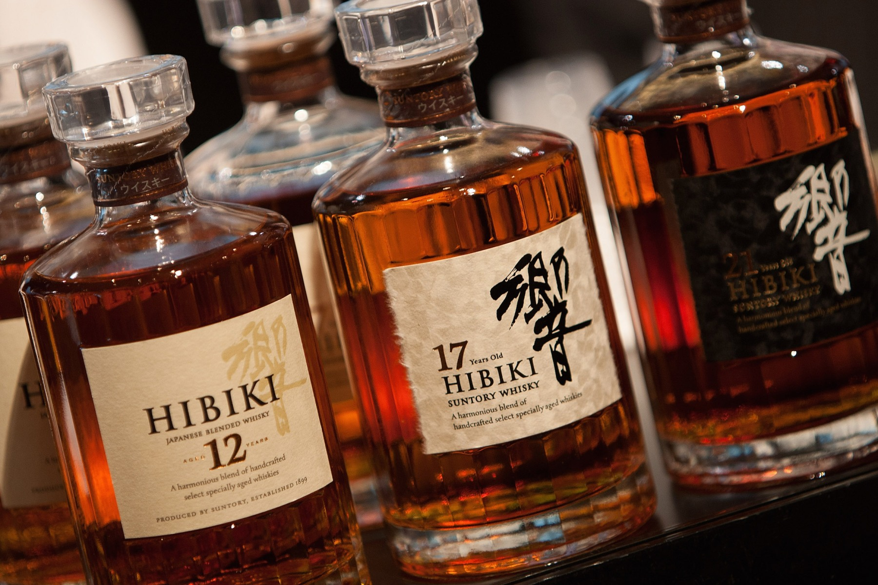 Bottles of award-winning Japanese Suntory Hibiki blended whisky, on display at the 'Whisky Live Tokyo 2012, Tokyo International Bar Show', on May 5, 2012 in Tokyo, Japan. (Jeremy Sutton-Hibbert/Getty Images)