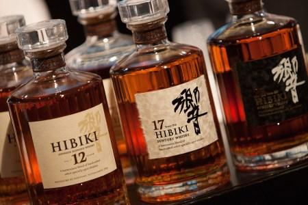 Bottles of award-winning Japanese Suntory Hibiki blended whisky, on display at the 'Whisky Live Tokyo 2012, Tokyo International Bar Show', on May 5, 2012 in Tokyo, Japan. (Jeremy Sutton-Hibbert/Getty Images)