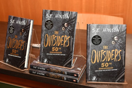 """Often cited as one of the first young adult novels, the 50th anniversary of the YA classic """"The Outsiders"""" by author Susan Eloise """"S.E."""" Hinton at Barnes & Noble on April 24, 2017 in New York City.  (Slaven Vlasic/Getty Images)"""