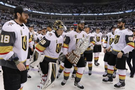 Deryk Engelland of the NHL expansion team Vegas Golden Knights celebrates with the Clarence S. Campbell Bowl after defeating the Winnipeg Jets 2-1 in Game Five of the Western Conference Finals to advance to the 2018 NHL Stanley Cup Final at Bell MTS Place on May 20, 2018 in Winnipeg, Canada. (Jason Halstead/Getty Images)