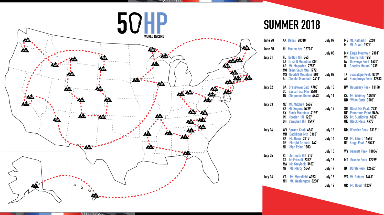 Climber Colin O'Brady's proposed route for the 50-state high point challenge. (Via www.colinobrady.com/50hp)