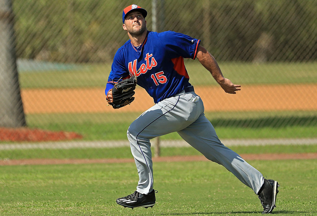 Tim Tebow #15 of the New York Mets works out at an instructional league day at Tradition Field on September 19, 2016 in Port St. Lucie, Florida.  (Mike Ehrmann/Getty Images)
