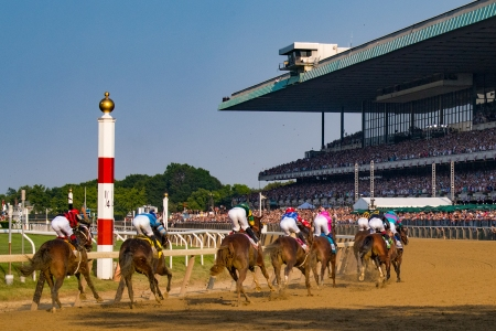 Horses make turn 4 during The 149th running of the Belmont Stakes at Belmont Park on June 10, 2017 in Elmont, New York.. (Photo by B51/MarkABrown/Getty Images) *** Local Caption ***