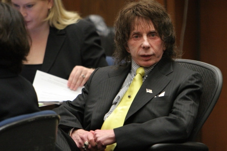 Music producer Phil Spector listens on the last day of the prosecution's final rebuttal during closing arguments in his retrial on murder charges at Clara Shortridge Foltz Criminal Justice Center on March 26, 2009 in Los Angeles. (Al Seib-Pool/Getty Images)